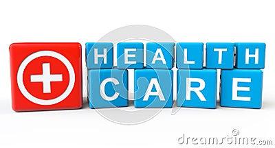 Sześciany z opieka zdrowotna znakiem