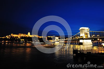 Szechenyi Chain Bridge and Buda Castle at night