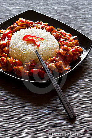 Szechuan chicken and rice dish