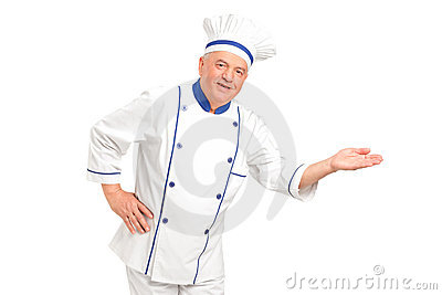 Szef kuchni target2157_0_ uśmiechniętego portreta powitanie