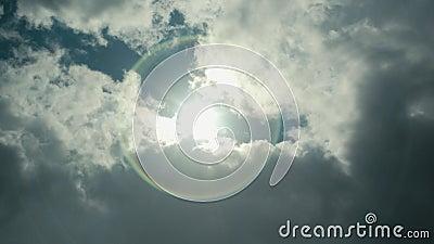 Szeroki strzał przyglądający w górę słońce kastingu i jaśnienia przy obiektywu raca w niebieskim niebie jako puszysta biel chmura zbiory
