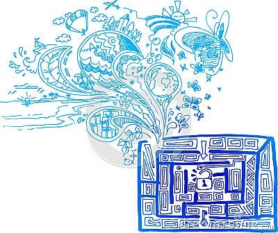 Szkicowy doodle: z labiryntu