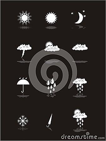 Sztandaru piktogramy ustawiająca pogoda