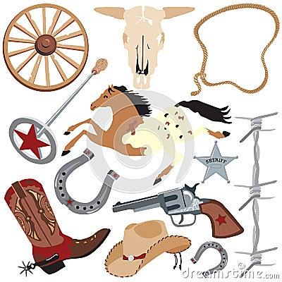 Sztuki klamerki kowbojscy elementy odizolowywali biel