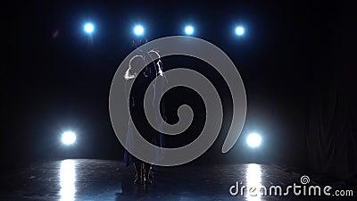 Tänzer des würdevollen Balletts zeigt modernes Ballett über Scheinwerfern Langsame Bewegung stock video