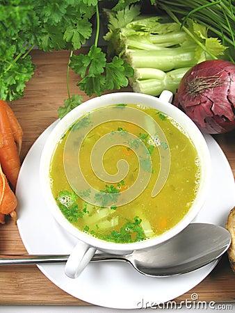 Tät soup för höna upp