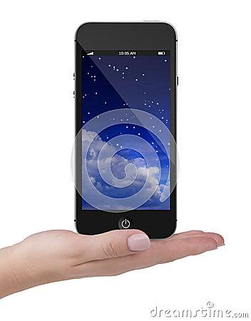 Téléphone Portable D'écran Tactile En Main, Fond Blanc Photo stock - Image: 49172951