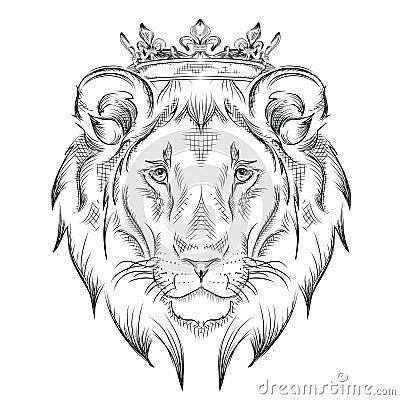 T te de dessin ethnique de main de lion utilisant une - Tattoo tete de lion ...