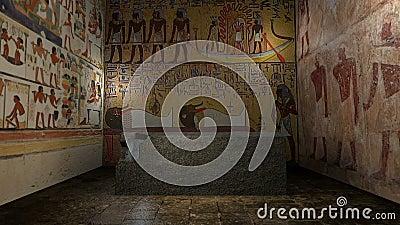 Túmulo animado do faraó em Egito antigo com portas de fechamento rendição 3d video estoque