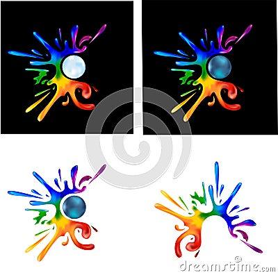 Tęczy farby splatters