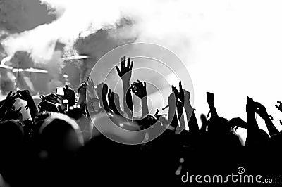 Tłum koncertowe sylwetki