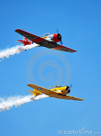 T-6 Texan Formation in Flight Editorial Image
