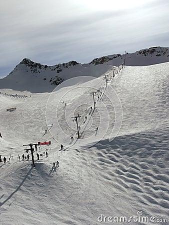 T bar ski lift