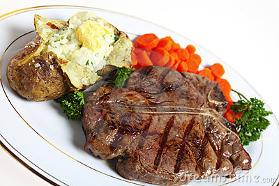 T-bone steak dinner