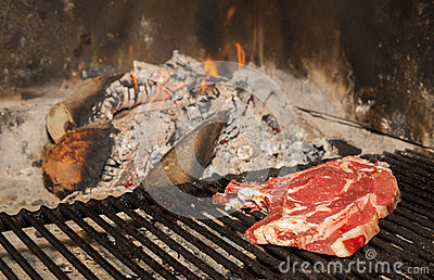 T-Bone steak on grill