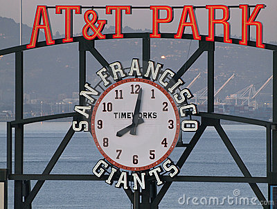 AT&T Park sign and clock Editorial Stock Photo