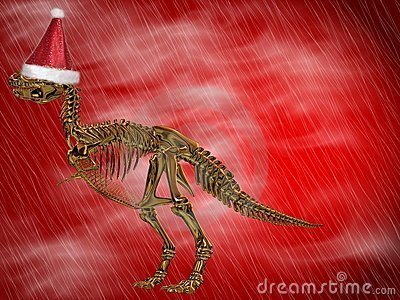 T-Rex with Santa cap