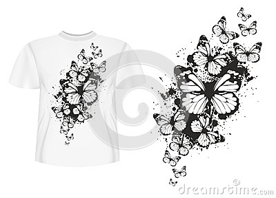 T-shirt design butterflys