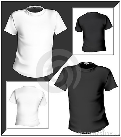 T-shirt design template (front & back). Black and