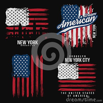 T-shirt graphic design with american flag and grunge texture. New York typography shirt design Vector Illustration