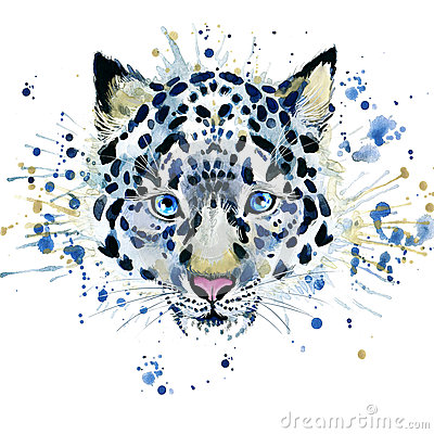 Free T-shirt Graphics/cute Snow Leopard, Illustration Watercolor Stock Photos - 55128943