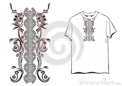 T-shirt Ornament female Vector Illustration