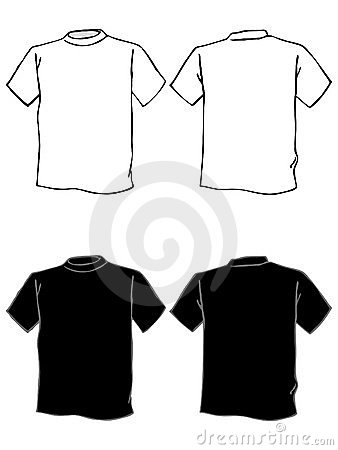 T shirt template in black and white