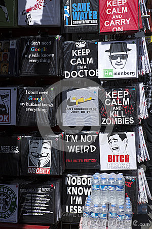 T Shirts in London street Editorial Image