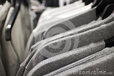 T-shirts on rack at clothing store