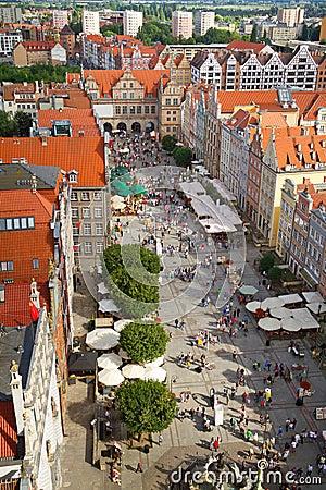 Tęsk rynek w starym miasteczku Gdansk