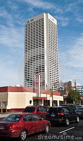 AT&T Towering Behind The Varsity Editorial Photography