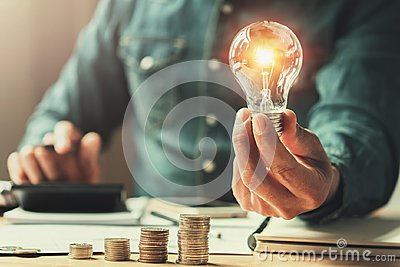 stock image of  business finance and saving power. new idea solar energy
