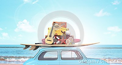 stock image of  car with luggage on the roof ready for summer vacation