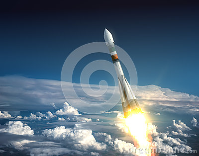 stock image of  carrier rocket take off