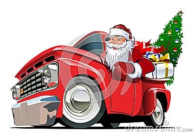 stock image of  cartoon retro christmas pickup