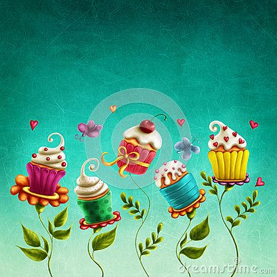 stock image of  cup cakes flowers