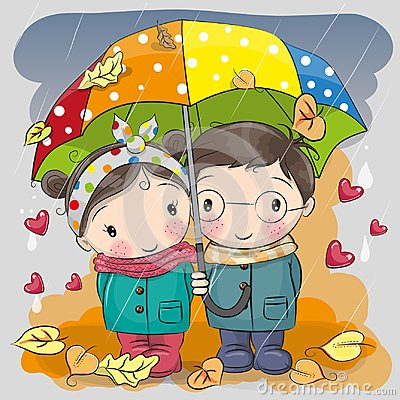 stock image of  boy and girl with umbrella under the rain