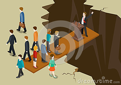 stock image of  democracy politics system imbalance collaple concept flat 3d web isometric