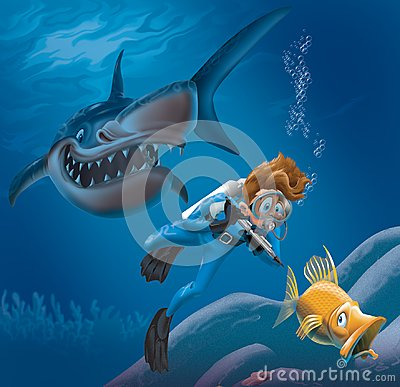 stock image of  diver and shark