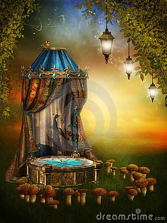 stock image of  fairy stage with lamps