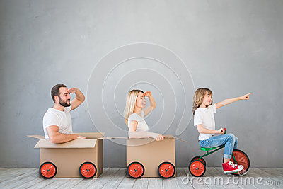 stock image of  family new home moving day house concept