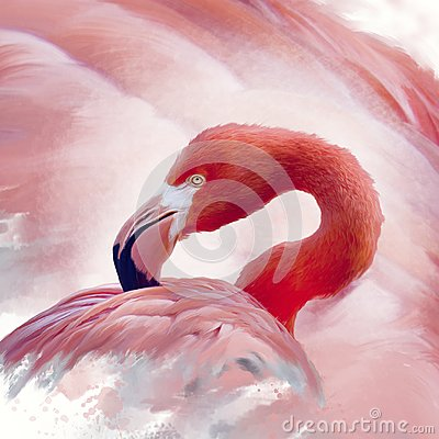 stock image of  flamingo watercolor painting