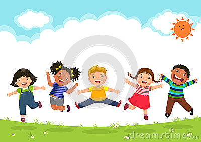 stock image of  happy kids jumping together during a sunny day