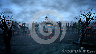 stock image of  horror night cemetery, grave. moonlight . halloween concept. 3d rendering