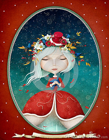 stock image of  lady winter in an oval frame