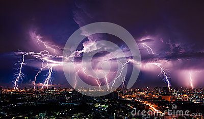 stock image of  lightning storm over city
