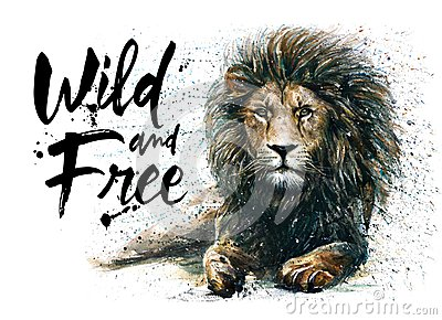 stock image of  lion-king, watercolor painting, predator of animals, wildlife painting