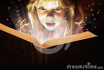 stock image of  little girl reading