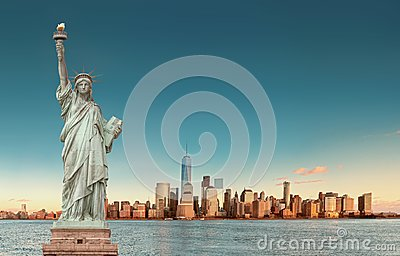 stock image of  manhattan skyline with the statue of liberty , new york city. usa