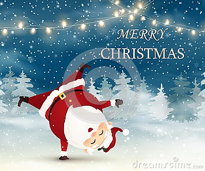 stock image of  merry christmas. cute, cheerful santa claus standing on his arm in christmas snow scene.
